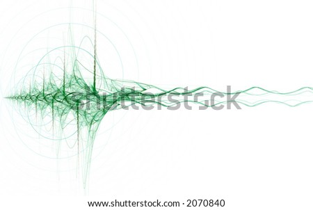 abstract green energy wave on white background