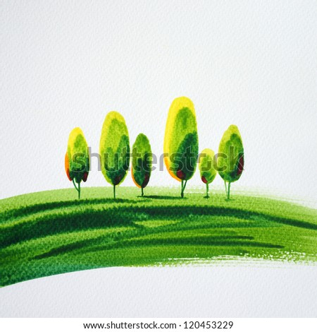 Abstract Green grass with tree from watercolor painted - stock photo