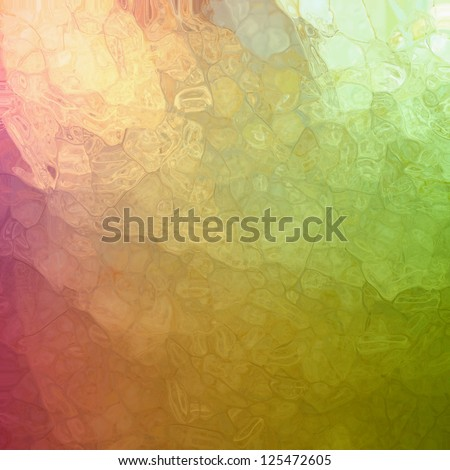 abstract green pink background, glossy glass texture with corner spotlight sunshine design and blotchy mosaic style design effect with metallic shine and random shape elements, artsy luxury background