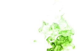 Abstract green smoke on white background, smoke background,green ink background,green, beautiful color smoke