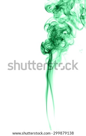 Abstract green smoke on white background, smoke background,green ink background,green, beautiful color smoke #299879138