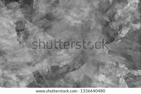 Abstract grey background. White and grey lines, shapes and spots intersect randomly in the frame.