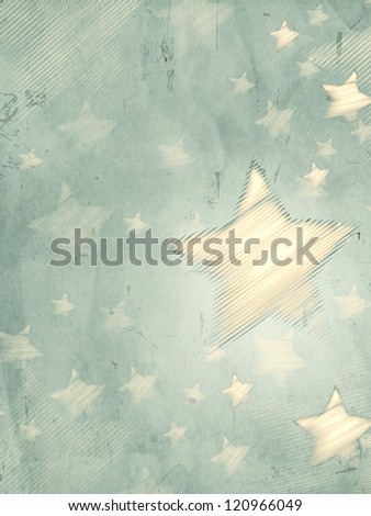 abstract grey background with illustrated striped stars, retro christmas card, vertical