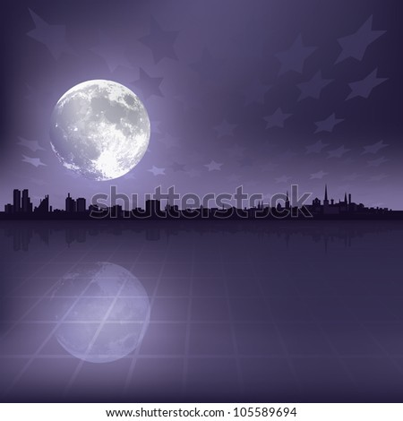 abstract grey background with silhouette of city and moon