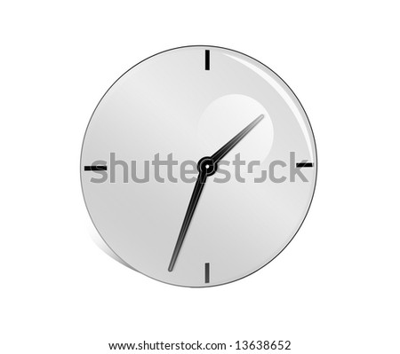 Abstract grey clock on a white background - stock photo