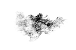 abstract grey smoke cloud isolated on white background black and white photography