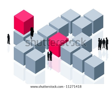 Abstract group customer, corporate or corporation focus theme - cubes