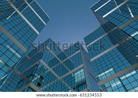 Abstract group of building with bright and clear sky both on background and reflecting on facade. 3D illustration. #631234553