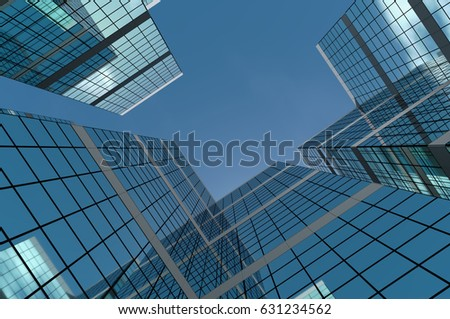 Abstract group of building with bright and clear sky both on background and reflecting on facade. 3D illustration. #631234562