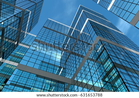 Abstract group of building with bright and clear sky. 3D illustration. #631653788