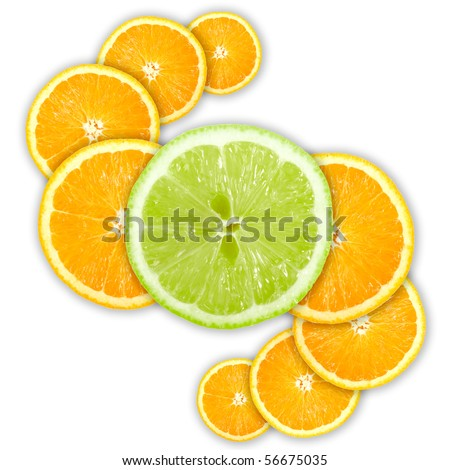 Abstract group of cross citrus fruits. Isolated on white background. Close-up. Studio photography.