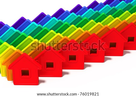 abstract group of houses of different colors on a white background