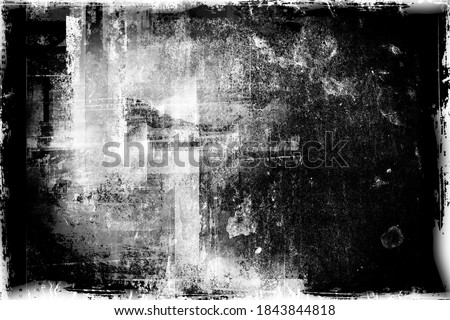 Abstract grunge background.  Drawing on old grungy surface. Vintage dirty scratch wall. Street art blueprint. Urban cyber punk monochrome illustration Zdjęcia stock ©