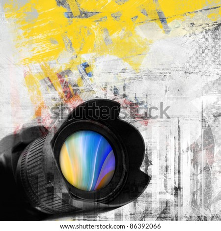 Abstract grunge background, photo camera
