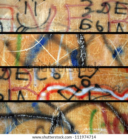 abstract grunge banners set. City walls with graffiti