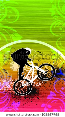 Abstract grunge bike jumping background with space