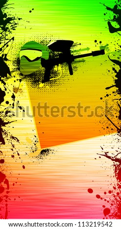 Abstract grunge color paintball poster: helmet and weapon background withs space