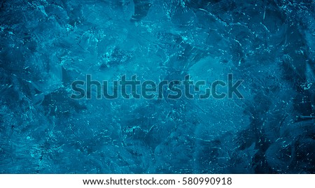 Abstract Grunge Decorative dark Navy Blue Painted Stucco Wall Texture. Handmade Rough Winter Christmas Paper Background With Copy Space. Wide Horizontal Image #580990918