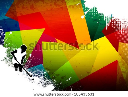 Abstract grunge Field Hockey sport background with space