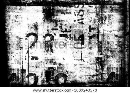 Abstract grunge futuristic cyber technology background.  Drawing on old grungy framed surface. Vintage dirty scratch wall. Street art blueprint. Urban cyber punk monochrome illustration