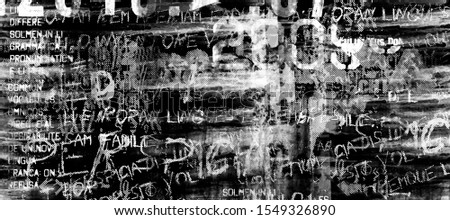 Abstract grunge futuristic cyber technology background.  Drawing on old grungy surface. Vintage dirty scratch wall. Street art blueprint. Urban cyber punk wide illustration Zdjęcia stock ©