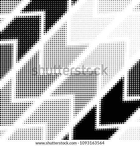 Abstract grunge grid polka dot halftone background pattern. Spotted black and white line illustration  #1093163564