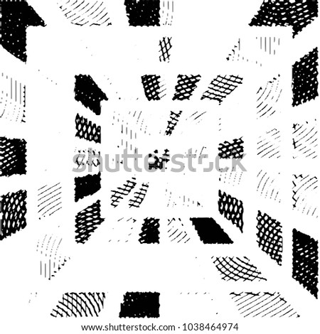 Abstract grunge grid stripe halftone background pattern. Black and white line illustration  #1038464974