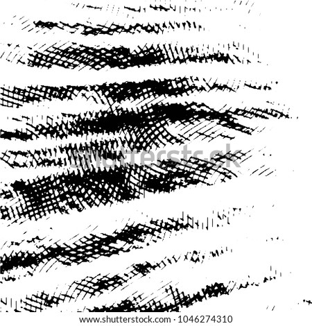 Abstract grunge grid stripe halftone background pattern. Black and white line illustration  #1046274310