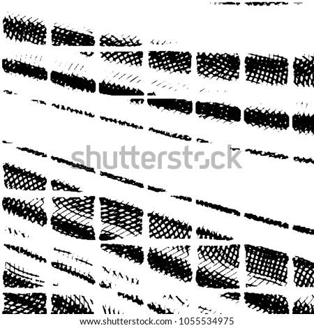 Abstract grunge grid stripe halftone background pattern. Black and white line illustration  #1055534975