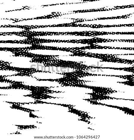 Abstract grunge grid stripe halftone background pattern. Black and white line illustration  #1064296427