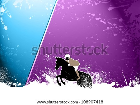 Abstract grunge horse jumping sport background with space