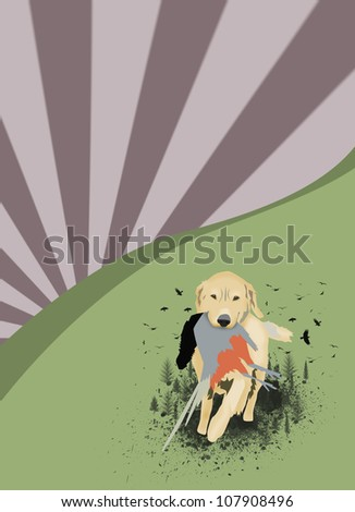 Abstract grunge hunting dog background with space