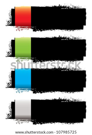 Abstract grunge ink banner with colorful elements and copy space