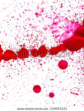 Abstract grunge ink splatters of pink color as background.