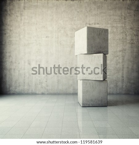 Abstract grunge interior with concrete cubes