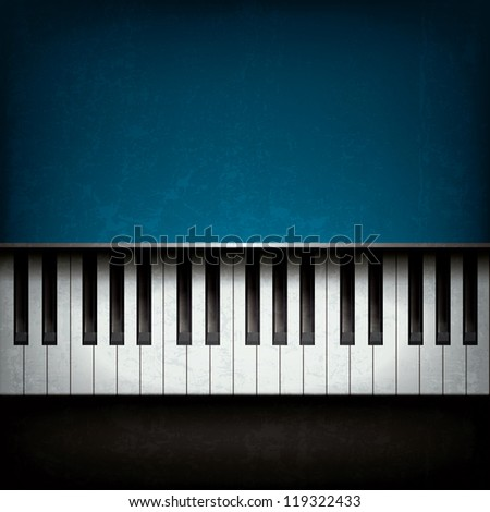 Abstract grunge music background with blue piano