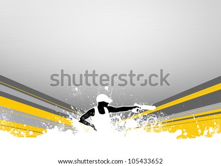 Abstract grunge pistol shot sport background with space