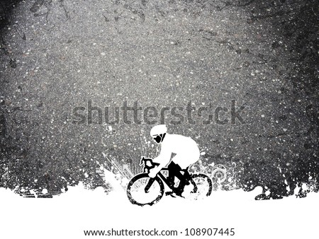 Abstract grunge speed bicycle sport background with space