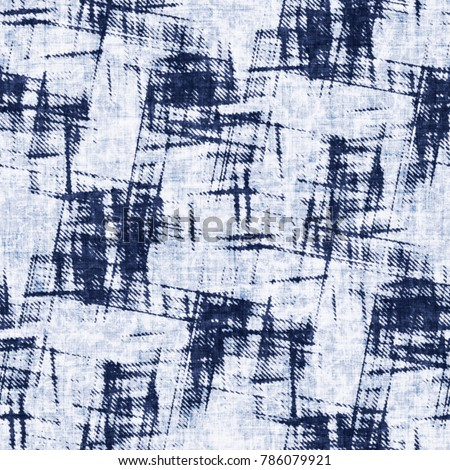 Abstract Grunge Textured Checked Motif. Seamless Pattern.