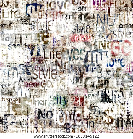 Abstract grunge urban colors geometric words, letters seamless pattern. Aged newspaper, magazine textured paper background. Multicolor collage repeating texture. Print for textile, wallpaper, wrapping Foto d'archivio ©