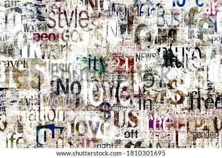Abstract grunge urban geometric chaotic pattern with words, letters. Old aged newspaper, magazine texture paper background. Beige colorful bright horizontal collage