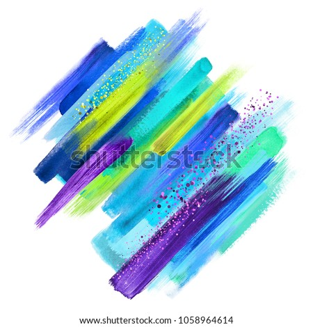 abstract grungy paint smears isolated on white, watercolor brush strokes, creative illustration, violet blue yellow artistic palette, gold glitter, boho fashion, intricate ethnic background