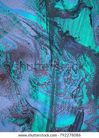 Abstract grungy steel blue, light steel blue and dark turquoise colorful hand drawn acrylic oil paint smears with spots, stripes, curves and stains on canvas texture #792278086