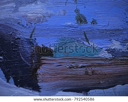 Abstract grungy steel blue, light steel blue and sky blue colorful hand drawn acrylic oil paint smears with spots, stripes, curves and stains on canvas texture #792540586