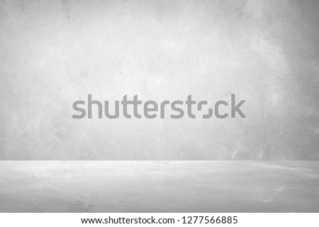 Abstract grungy white concrete wall texture background,gray wall and floor interior backdrop for design art work.  #1277566885