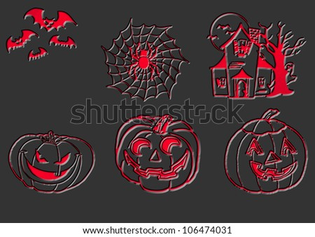 abstract halloween backgraund in red and black - stock photo