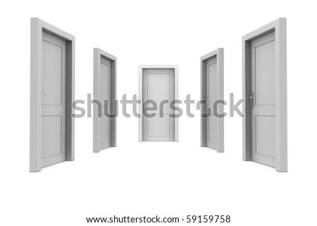 abstract hallway with five grey closed doors
