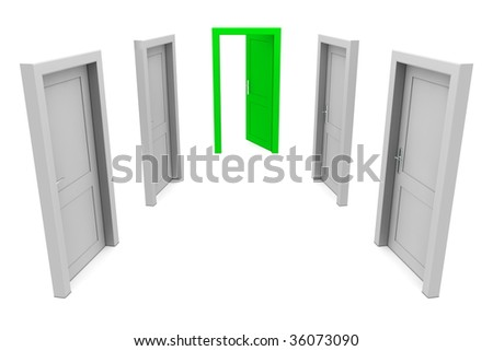 abstract hallway with gray doors - one open green door at the end of the corridor