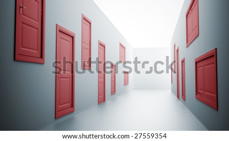 Abstract hallway with many doors