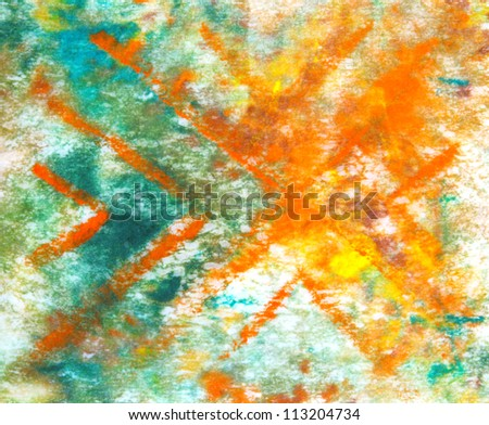Abstract hand drawn paint background: blue, green, and yellow patterns. Great for art texture, grunge design, and vintage paper